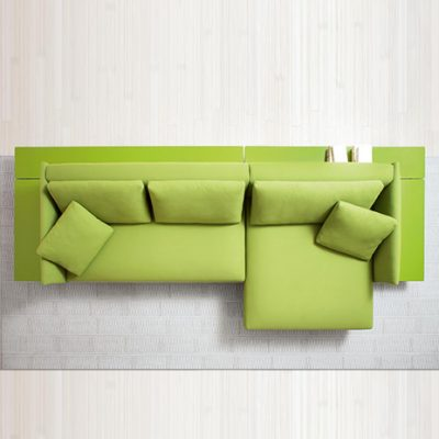 Pillar Modular Sofa – Right corner chaise lounge element with shelves.